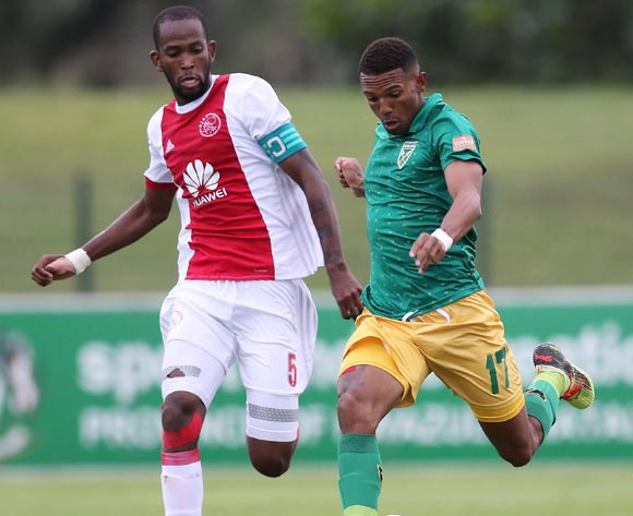Wayde Jooste of Golden Arrows and Mosa Lebusa of Ajax Cape Town during the Absa Premiership 2017/18 match between Golden Arrows and Ajax Cape Town at Princess Magogo Stadium, Durban South Africa on 25 February 2018 ©/BackpagePix