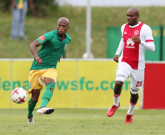 Danny Venter of Golden Arrows and Tercious Malepe of Ajax Cape Town during the Absa Premiership 2017/18 match between Golden Arrows and Ajax Cape Town at Princess Magogo Stadium, Durban South Africa on 25 February 2018 ©/BackpagePix