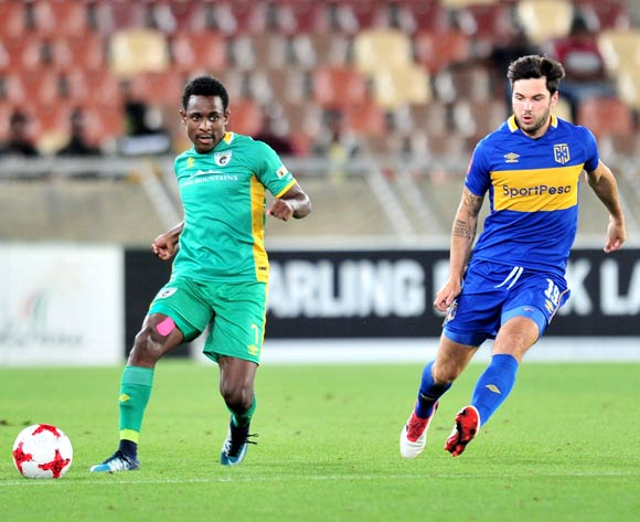 Talent Chawapiwa of Baroka challenged by Roland Putsche of Cape Town City FC during the Absa Premiership 2017/18 match between Baroka and Cape Town City at Peter Mokaba Stadium, Polokwane on 27 February 2018 ©Samuel Shivambu/BackpagePix