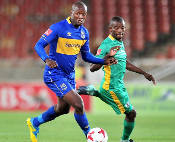 Judas Moseamedi of Cape Town City FC challenged by Mathari Mothupa of Baroka during the Absa Premiership 2017/18 match between Baroka and Cape Town City at Peter Mokaba Stadium, Polokwane on 27 February 2018 ©Samuel Shivambu/BackpagePix