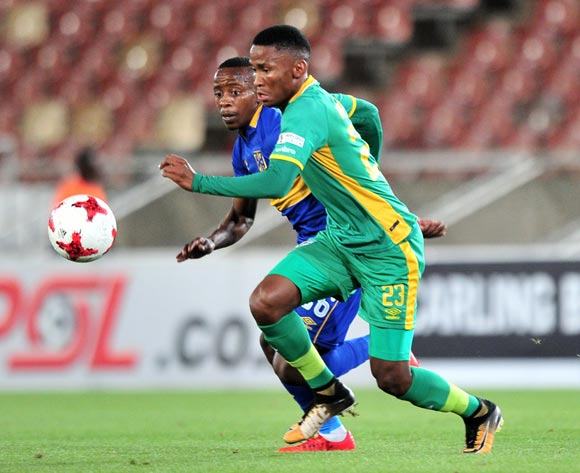 Mpho Kgaswane of Baroka challenged by Thabo Nodada of Cape Town City FC during the Absa Premiership 2017/18 match between Baroka and Cape Town City at Peter Mokaba Stadium, Polokwane on 27 February 2018 ©Samuel Shivambu/BackpagePix