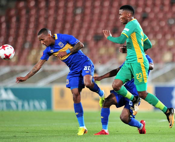 Mpho Kgaswane of Baroka challenged by Surprise Ralani and Thabo Nodada of Cape Town City FC during the Absa Premiership 2017/18 match between Baroka and Cape Town City at Peter Mokaba Stadium, Polokwane on 27 February 2018 ©Samuel Shivambu/BackpagePix