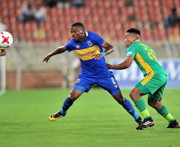 Thamsanqa Mkhize of Cape Town City FC challenged by Khutso Mohwatseleng of Baroka during the Absa Premiership 2017/18 match between Baroka and Cape Town City at Peter Mokaba Stadium, Polokwane on 27 February 2018 ©Samuel Shivambu/BackpagePix
