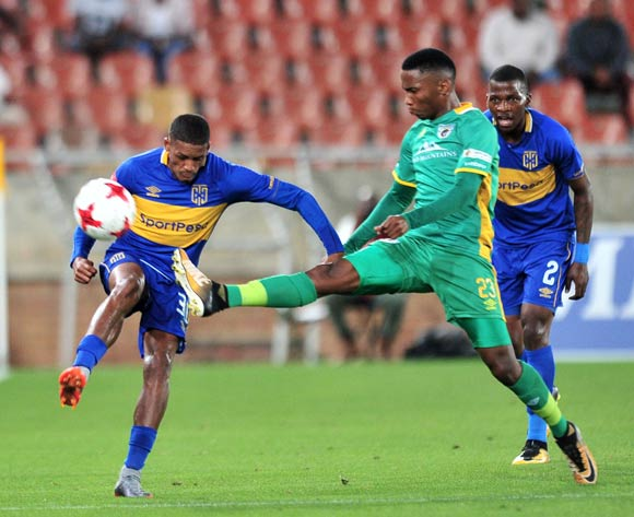 Craiq Martin of Cape Town City FC challenged by Mpho Kgaswane of Baroka during the Absa Premiership 2017/18 match between Baroka and Cape Town City at Peter Mokaba Stadium, Polokwane on 27 February 2018 ©Samuel Shivambu/BackpagePix