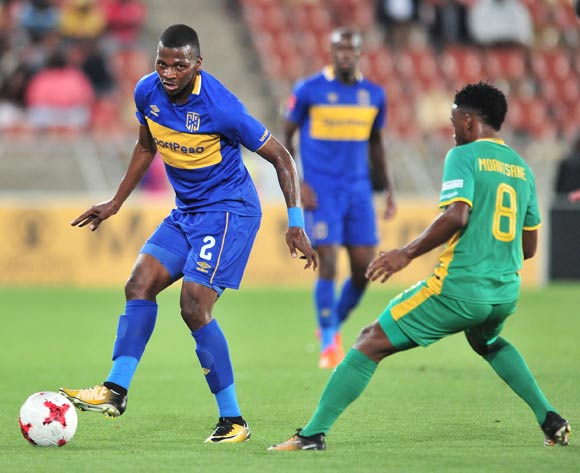Thamsanqa Mkhize of Cape Town City FC challenged by Mduduzi Mdantsane of Baroka during the Absa Premiership 2017/18 match between Baroka and Cape Town City at Peter Mokaba Stadium, Polokwane on 27 February 2018 ©Samuel Shivambu/BackpagePix