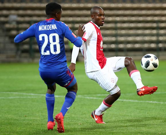 Tercious Malepe of Ajax Cape Town challenged by Teboho Mokoena of Supersport United during the Absa Premiership 2017/18 football match between Ajax Cape Town and SuperSport United at Athlone Stadium, Cape Town on 28 February 2018 ©Chris Ricco/BackpagePix