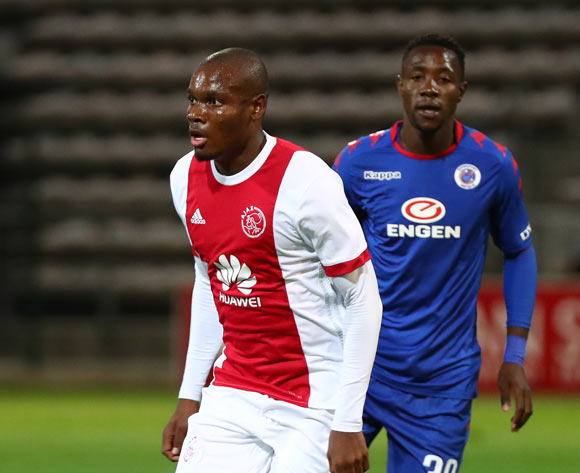 Tercious Malepe of Ajax Cape Town gets away from Evans Rusike of Supersport United during the Absa Premiership 2017/18 football match between Ajax Cape Town and SuperSport United at Athlone Stadium, Cape Town on 28 February 2018 ©Chris Ricco/BackpagePix