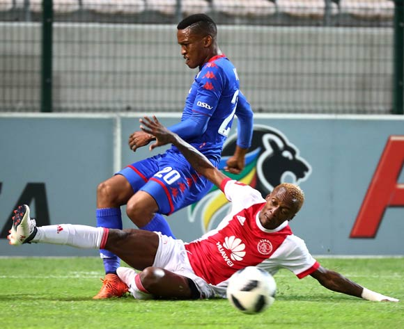 Grant Kekana of Supersport United challenged by Yannick Zakri of Ajax Cape Town during the Absa Premiership 2017/18 football match between Ajax Cape Town and SuperSport United at Athlone Stadium, Cape Town on 28 February 2018 ©Chris Ricco/BackpagePix