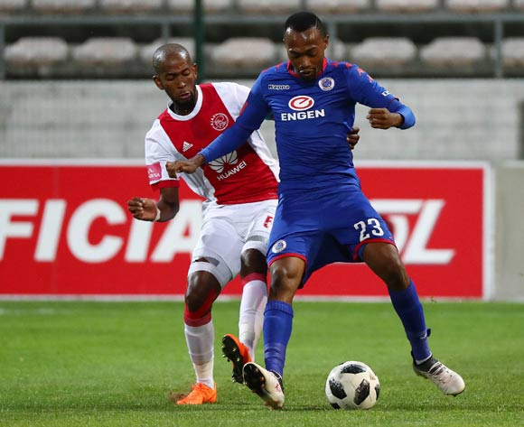 Thabo Mnyamane of Supersport United challenged by Mosa Lebusa of Ajax Cape Town during the Absa Premiership 2017/18 football match between Ajax Cape Town and SuperSport United at Athlone Stadium, Cape Town on 28 February 2018 ©Chris Ricco/BackpagePix