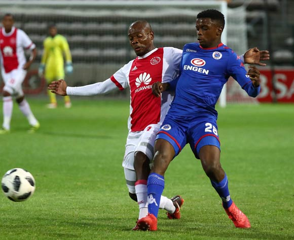Teboho Mokoena of Supersport United tackled by Tercious Malepe of Ajax Cape Town during the Absa Premiership 2017/18 football match between Ajax Cape Town and SuperSport United at Athlone Stadium, Cape Town on 28 February 2018 ©Chris Ricco/BackpagePix
