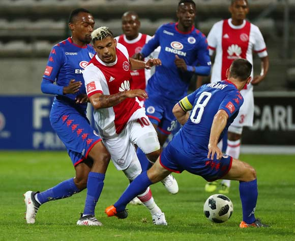 Toriq Losper of Ajax Cape Town tackled by Dean Furman of Supersport United (r)  and Thabo Mnyamane of Supersport United (l) during the Absa Premiership 2017/18 football match between Ajax Cape Town and SuperSport United at Athlone Stadium, Cape Town on 28 February 2018 ©Chris Ricco/BackpagePix
