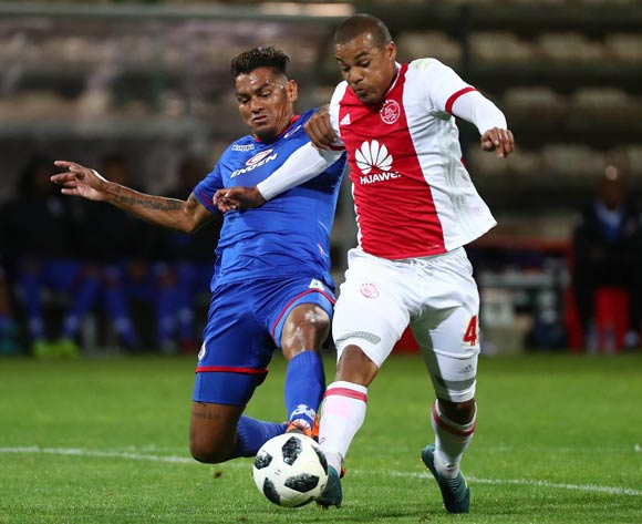 Fagrie Lakay of Ajax Cape Town tackled by Clayton Daniels of Supersport United during the Absa Premiership 2017/18 football match between Ajax Cape Town and SuperSport United at Athlone Stadium, Cape Town on 28 February 2018 ©Chris Ricco/BackpagePix