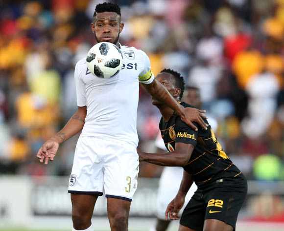 Thulani Hlatshwayo of Bidvest Wits shields ball from Philani Zulu of Kaizer Chiefs during the Absa Premiership 2017/18 match between Bidvest Wits and Kaizer Chiefs at Bidvest Stadium, Johannesburg South Africa on 03 February 2018 ©Muzi Ntombela/BackpagePix