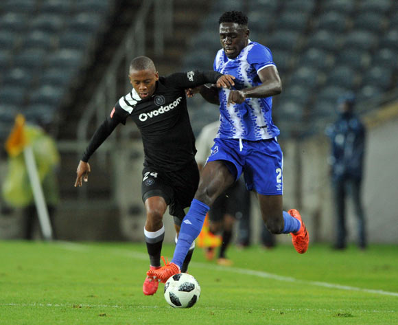 Thabiso Kutumela of Orlando Pirates challenges Brian Onyango of Maritzburg United during the Absa Premiership match between Orlando Pirates and Maritzburg United on 03 February 2018 at  Orlando Stadium Pic Sydney Mahlangu/BackpagePix