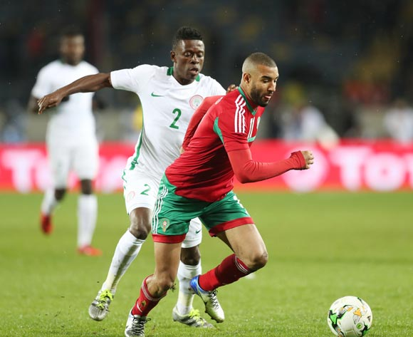 Ismail El Haddad of Morocco challenged by Moses Okoro Osas of Nigeria during the 2018 CHAN Final football match between Morocco and Nigeria at Stade Mohamed V in Casablanca, Morocco on 04 February 2018 ©Gavin Barker/BackpagePix