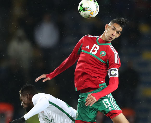 Badr Benoun of Morocco wins header against Okechukwu Gabriel of Nigeria  during the 2018 CHAN Final football match between Morocco and Nigeria at Stade Mohamed V in Casablanca, Morocco on 04 February 2018 ©Gavin Barker/BackpagePix