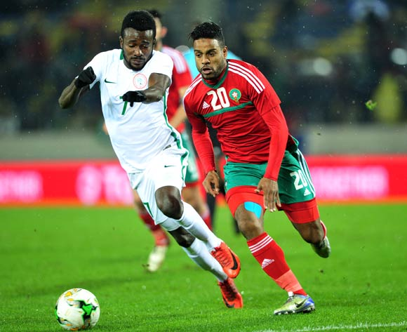 Abdeljalil Jbira of Morocco is challenged by Chukwudiebube Emeka Ogbugh of Nigeria during the 2018 CHAN Final football match between Morocco and Nigeria at Stade Mohamed V in Casablanca, Morocco on 04 February 2018 © Ryan Wilkisky/BackpagePix