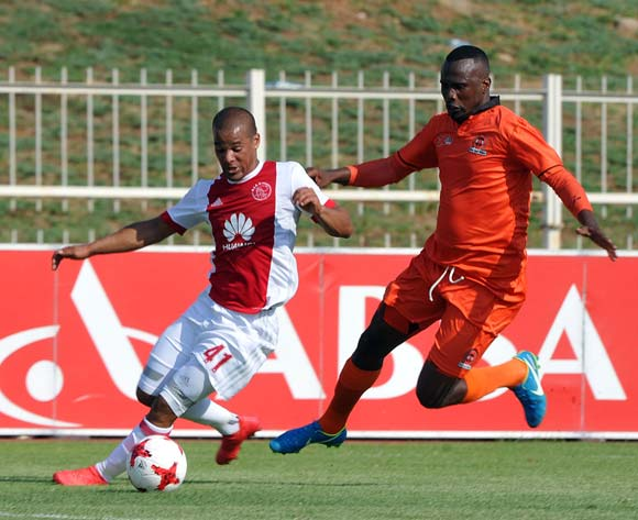 Fagrie Lakay of Ajax Cape Town is challenged by Thapelo Tshilo of Polokwane City during the Absa Premiership match between Polokwane City and Ajax Cape Town on 04 February 2018 at  Old Peter Mokaba Stadium Pic Sydney Mahlangu/BackpagePix