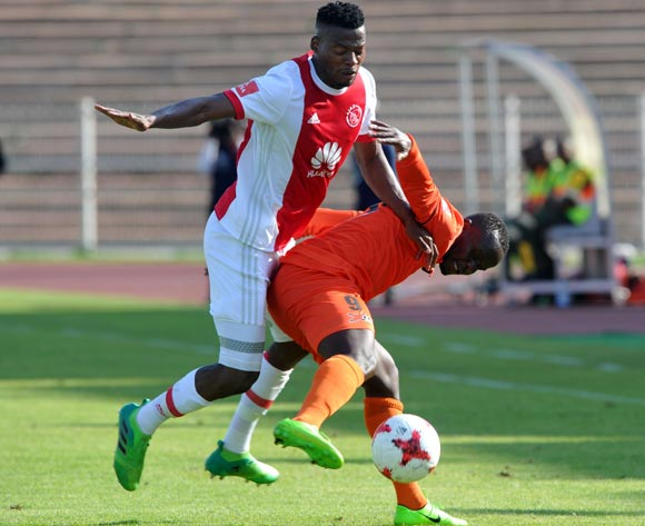 Isaac Nhlapo of Ajax Cape Town is challenged by Dominic Chungwa of Polokwane City during the Absa Premiership match between Polokwane City and Ajax Cape Town on 04 February 2018 at  Old Peter Mokaba Stadium Pic Sydney Mahlangu/BackpagePix