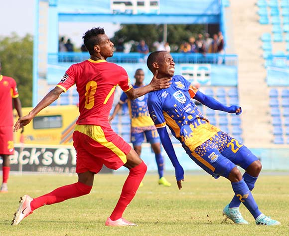 Main Ditshupo of Township Roller and Khaled Taha of EL Merreikh during the 2018 CAF Champions League football match between Township Rollers and EL Merreikh at National Stadium,Botswana on 10 February 2018 ©/BackpagePix
