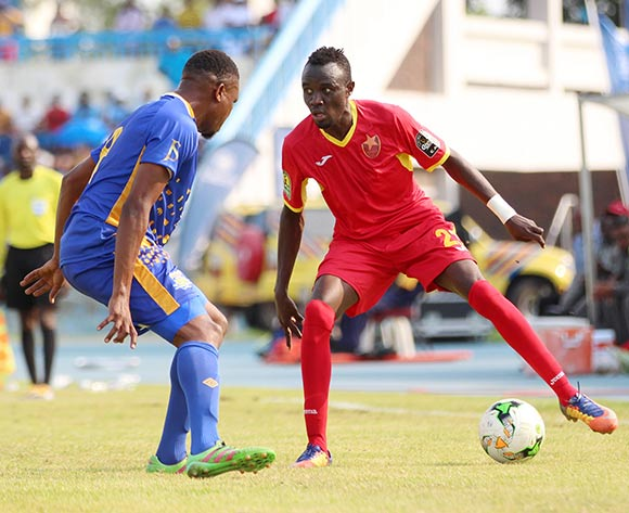 Amir Kamal Suliman of EL Merreikh and Tshepo Motlhabankwa of Township Rollers during the 2018 CAF Champions League football match between Township Rollers and EL Merreikh at National Stadium,Botswana on 10 February 2018 ©/BackpagePix
