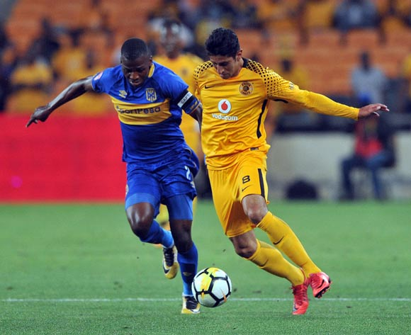 Leonardo Castro of Kaizer Chiefs tackled by Thamsanqa Mkhize of Cape Town City during the Absa Premiership match between Kaizer Chiefs and Cape Town City on 17 February 2018 at  FNB Stadium Pic Sydney Mahlangu/BackpagePix