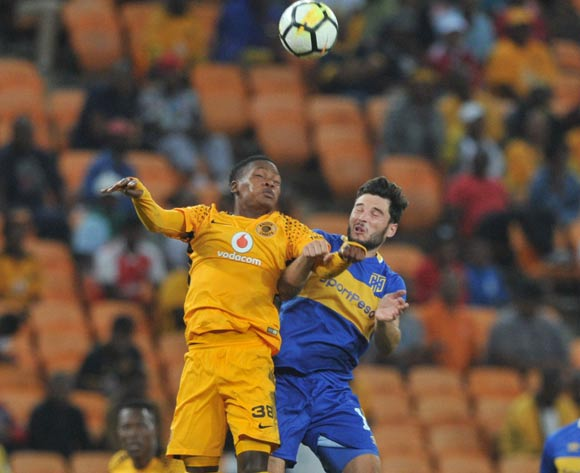 Wiseman Meyiwa of Kaizer Chiefs challenges Roland Putsche of Cape Town City during the Absa Premiership match between Kaizer Chiefs and Cape Town City on 17 February 2018 at  FNB Stadium Pic Sydney Mahlangu/BackpagePix