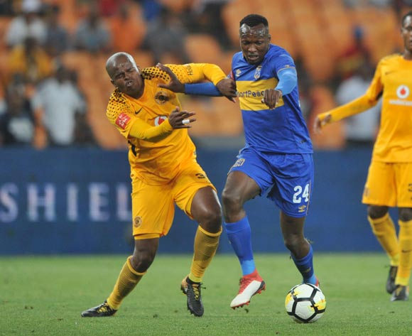 Willard Katsande of Kaizer Chiefs challenges Sibusiso Masina of Cape Town City during the Absa Premiership match between Kaizer Chiefs and Cape Town City on 17 February 2018 at  FNB Stadium Pic Sydney Mahlangu/BackpagePix
