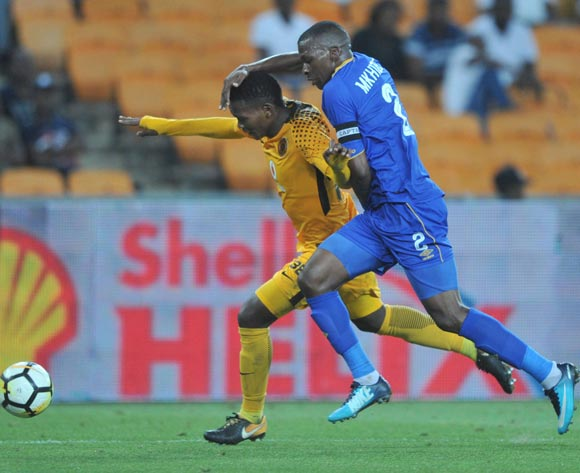 Wiseman Meyiwa of Kaizer Chiefs is challenged by Thamsanqa Mkhize of Cape Town City during the Absa Premiership match between Kaizer Chiefs and Cape Town City on 17 February 2018 at  FNB Stadium Pic Sydney Mahlangu/BackpagePix