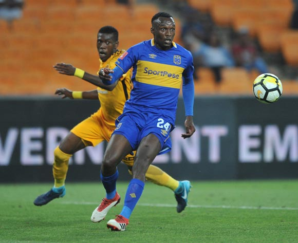 Teenage Hadebe of Kaizer Chiefs challenges Sibusiso Masina of Cape Town City during the Absa Premiership match between Kaizer Chiefs and Cape Town City on 17 February 2018 at  FNB Stadium Pic Sydney Mahlangu/BackpagePix