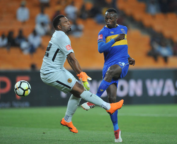 Itumeleng Khune of Kaizer Chiefs challenges Sibusiso Masina of Cape Town City during the Absa Premiership match between Kaizer Chiefs and Cape Town City on 17 February 2018 at  FNB Stadium Pic Sydney Mahlangu/BackpagePix