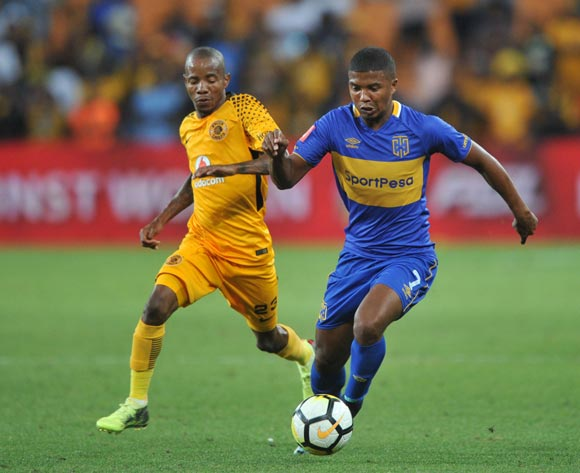 Joseph Molangoane of Kaizer Chiefs challenges Lyle Lakay of Cape Town City during the Absa Premiership match between Kaizer Chiefs and Cape Town City on 17 February 2018 at  FNB Stadium Pic Sydney Mahlangu/BackpagePix