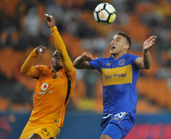 Willard Katsande of Kaizer Chiefs challenges Matthew Rusike of Cape Town City during the Absa Premiership match between Kaizer Chiefs and Cape Town City on 17 February 2018 at  FNB Stadium Pic Sydney Mahlangu/BackpagePix