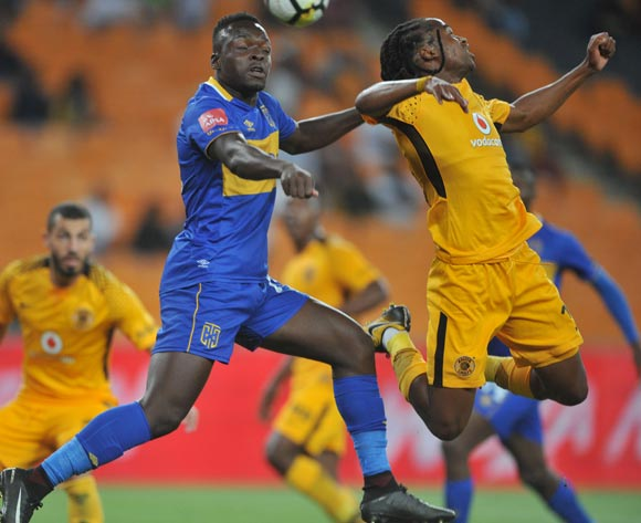 Siphiwe Tshabalala of Kaizer Chiefs challenges Akosah Bempah Nana of Cape Town City during the Absa Premiership match between Kaizer Chiefs and Cape Town City on 17 February 2018 at  FNB Stadium Pic Sydney Mahlangu/BackpagePix