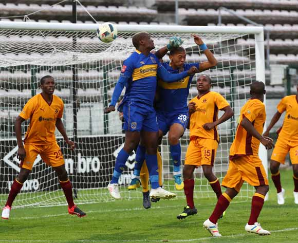 Judas Moseamedi of Cape Town City and Shane Roberts of Cape Town City challenge for ball during the 2018 CAF Confederation Cup, Preliminary Round, 2nd Leg between Cape Town City FC and Young Buffaloes at Athlone Stadium, 20 February 2018 ©Chris Ricco/BackpagePix