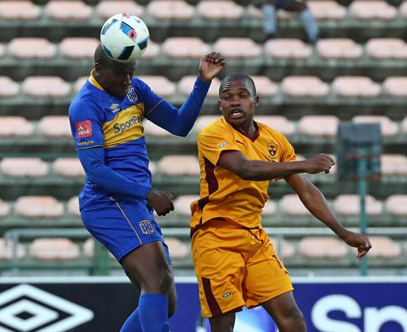 Judas Moseamedi of Cape Town City battles for the ball with Sihlangu Mkhwanazi of Young Buffaloes during the 2018 CAF Confederation Cup, Preliminary Round, 2nd Leg between Cape Town City FC and Young Buffaloes at Athlone Stadium, 20 February 2018 ©Chris Ricco/BackpagePix