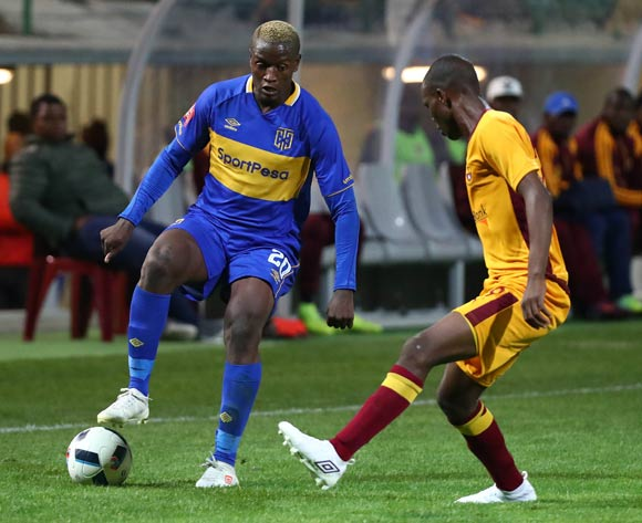 Judas Moseamedi of Cape Town City evades challenge from Wandile Maseko of Young Buffaloes during the 2018 CAF Confederation Cup, Preliminary Round, 2nd Leg between Cape Town City FC and Young Buffaloes at Athlone Stadium, 20 February 2018 ©Chris Ricco/BackpagePix