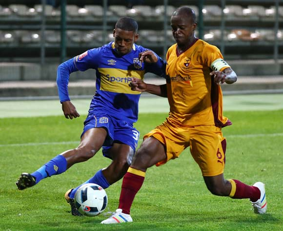 Craig Martin of Cape Town City challenged by Nkosingiphile Tsabedze of Young Buffaloes during the 2018 CAF Confederation Cup, Preliminary Round, 2nd Leg between Cape Town City FC and Young Buffaloes at Athlone Stadium, 20 February 2018 ©Chris Ricco/BackpagePix
