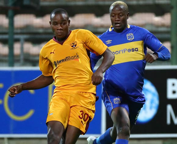 Siboniso Ngwenya of Young Buffaloes evades challenge from Judas Moseamedi of Cape Town City during the 2018 CAF Confederation Cup, Preliminary Round, 2nd Leg between Cape Town City FC and Young Buffaloes at Athlone Stadium, 20 February 2018 ©Chris Ricco/BackpagePix