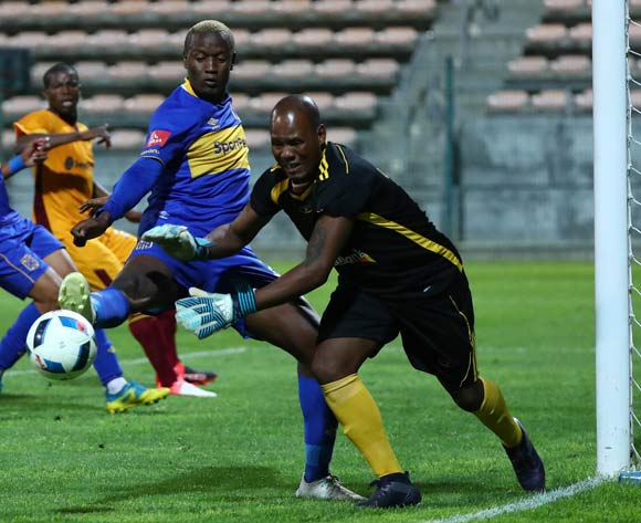 Nhlanhla Gwebu of Young Buffaloes challenged by Judas Moseamedi of Cape Town City during the 2018 CAF Confederation Cup, Preliminary Round, 2nd Leg between Cape Town City FC and Young Buffaloes at Athlone Stadium, 20 February 2018 ©Chris Ricco/BackpagePix