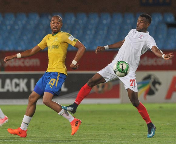 Harris Tchilimbou of Free State Stars challenges Tiyani Mabunda of Mamelodi Sundowns during the Absa Premiership match between Mamelodi Sundowns and Free State Stars on 21 February 2018 at  Loftus Versfeld Stadium Pic Sydney Mahlangu/BackpagePix