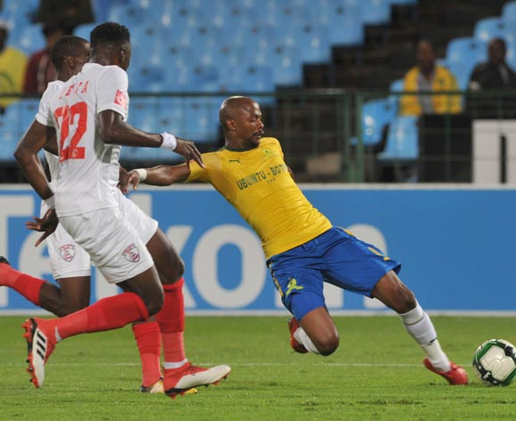 Bangaly Keita of Free State Stars challenges Tebogo Langerman of Mamelodi Sundowns  during the Absa Premiership match between Mamelodi Sundowns and Free State Stars on 21 February 2018 at  Loftus Versfeld Stadium Pic Sydney Mahlangu/BackpagePix