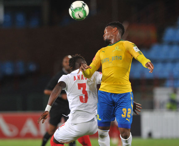 Mohammed Anas of Free State Stars challenges Motjeka Madisha of Mamelodi Sundowns during the Absa Premiership match between Mamelodi Sundowns and Free State Stars on 21 February 2018 at  Loftus Versfeld Stadium Pic Sydney Mahlangu/BackpagePix
