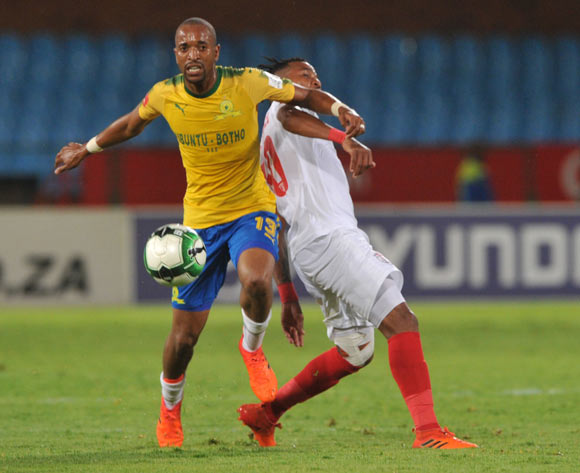 Nhlanhla Vilakazi of Free State Stars challenges Tiyani Mabunda of Mamelodi Sundowns during the Absa Premiership match between Mamelodi Sundowns and Free State Stars on 21 February 2018 at  Loftus Versfeld Stadium Pic Sydney Mahlangu/BackpagePix