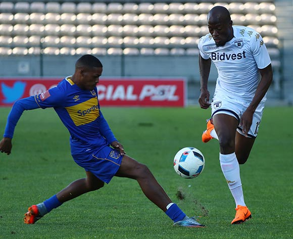 Sifiso Hlanti of Bidvest Wits challenged by Craig Martin of Cape Town City during the Absa Premiership 2017/18 football match between Cape Town City FC and Bidvest Wits at Athlone Stadium, Cape Town on 24 February 2018 ©Chris Ricco/BackpagePix