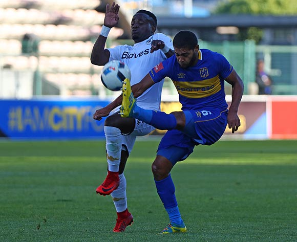 Ebrahim Seedat of Cape Town City clears ball from Gabadinho Mhango of Bidvest Wits during the Absa Premiership 2017/18 football match between Cape Town City FC and Bidvest Wits at Athlone Stadium, Cape Town on 24 February 2018 ©Chris Ricco/BackpagePix
