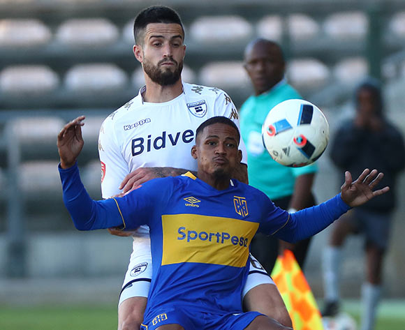 Craig Martin of Cape Town City challenged by Keegan Ritchie of Bidvest Wits during the Absa Premiership 2017/18 football match between Cape Town City FC and Bidvest Wits at Athlone Stadium, Cape Town on 24 February 2018 ©Chris Ricco/BackpagePix