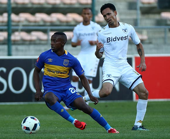 Thabo Nodada of Cape Town City evades challenge from Daylon Claasen of Bidvest Wits during the Absa Premiership 2017/18 football match between Cape Town City FC and Bidvest Wits at Athlone Stadium, Cape Town on 24 February 2018 ©Chris Ricco/BackpagePix