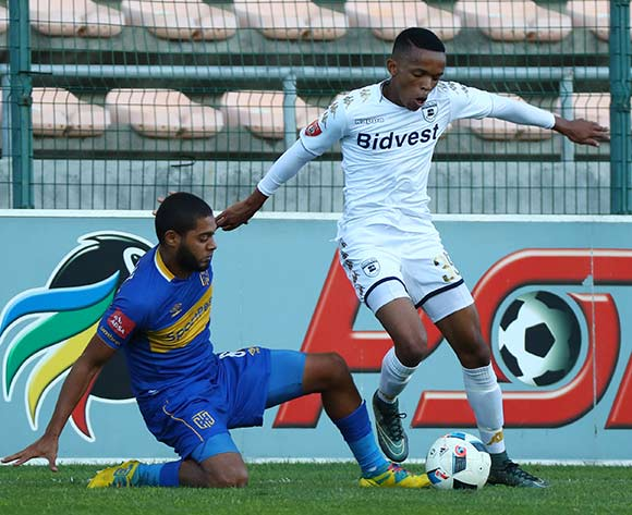 Abednigo Mosiahlaga of Bidvest Wits challenged by Ebrahim Seedat of Cape Town City during the Absa Premiership 2017/18 football match between Cape Town City FC and Bidvest Wits at Athlone Stadium, Cape Town on 24 February 2018 ©Chris Ricco/BackpagePix
