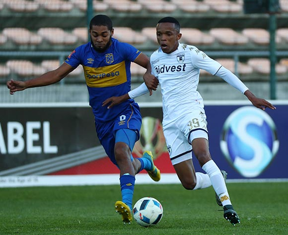Abednigo Mosiahlaga of Bidvest Wits evades challenge from Ebrahim Seedat of Cape Town City during the Absa Premiership 2017/18 football match between Cape Town City FC and Bidvest Wits at Athlone Stadium, Cape Town on 24 February 2018 ©Chris Ricco/BackpagePix